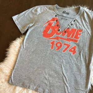 David Bowie Grommet Detail Choker Graphic Tee